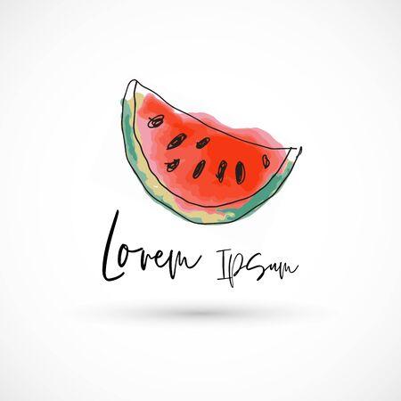 Watermelon watercolor style vector illustration logo slice fruit fresh 版權商用圖片 - 133012881