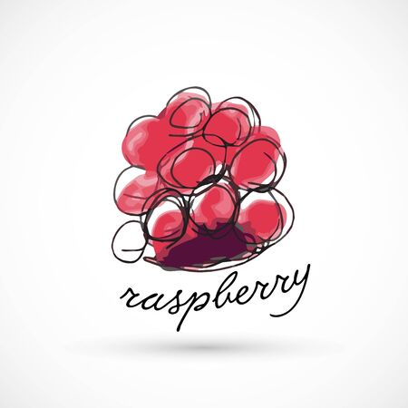 Raspberry hand drawn watercolor style fruit set paint ink sketch illustration simple art paint easy to change colors vector