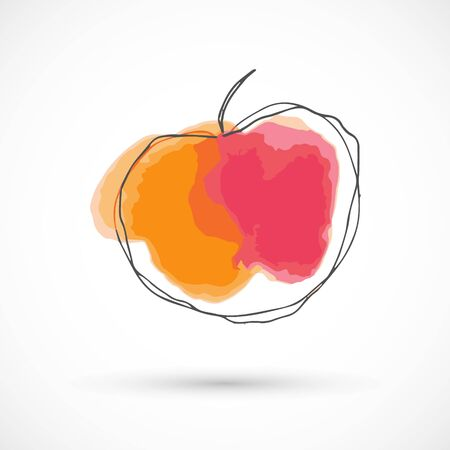 Apple peach orange pink hand drawn watercolor style fruit set paint ink sketch illustration simple art paint easy to change colors vector Çizim