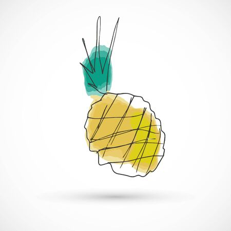 Pineapple hand drawn watercolor style fruit set paint ink sketch illustration simple art paint easy to change colors vector