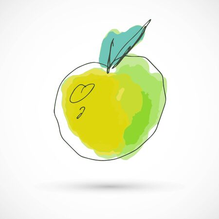 Yellow apple hand drawn watercolor style fruit set paint ink sketch illustration simple art paint easy to change colors vector Çizim