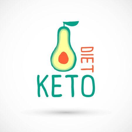 Keto diet logo avocado ketogenic food sign vector illustration