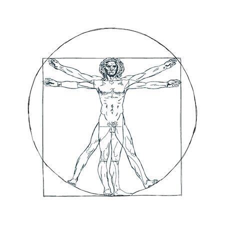 The Vitruvian man, Leonardo's man. Detailed drawing ink black and white vector illustration golden ratio homo vitruviano. Vector Illustration