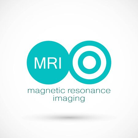 MRI diagnostic vector icon logo. Magnetic resonance imaging medical machine. CT scan symbol illustration. Computerized tomography scanner. logotype on white background