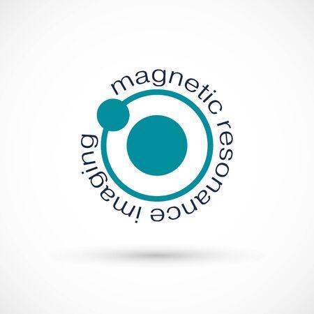 MRI diagnostic vector icon logo. Magnetic resonance imaging medical machine. CT scan symbol illustration. Computerized tomography scanner. logotype on white background Banco de Imagens - 136423087