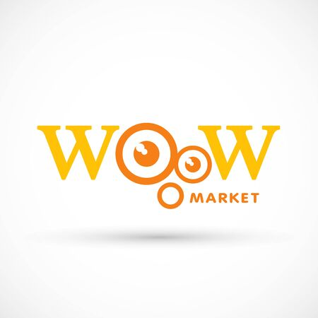 Wow logo market shop sign vector illustration amazing character big eye