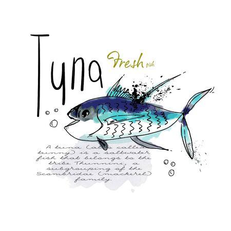 Ink sketch tuna fish watercolor splash seafood illustration menu sign Ilustrace