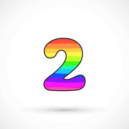 Rainbow two number round shape comic cartoon style multicolor vector sign spectrum line bright symbol