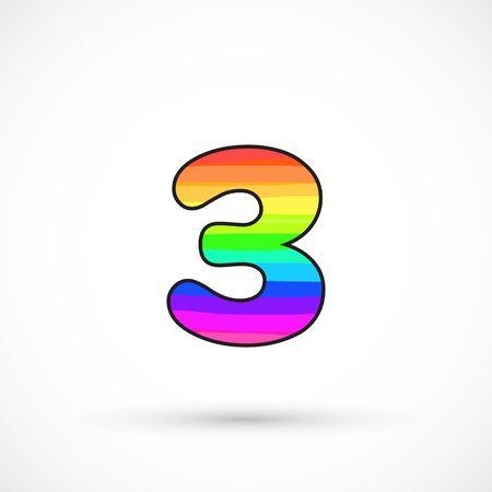 Rainbow three number round shape comic cartoon style multicolor vector sign spectrum line bright symbol Banco de Imagens - 136423108
