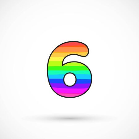 Rainbow six number round shape comic cartoon style multicolor vector sign spectrum line bright symbol