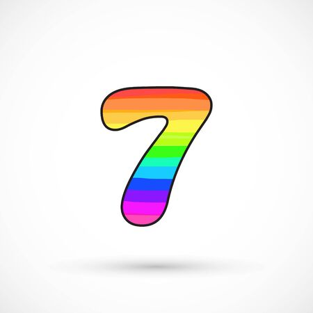 Rainbow seven number round shape comic cartoon style multicolor vector sign spectrum line bright symbol Banco de Imagens - 136423900