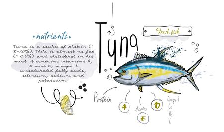 Fish tuna hand drawn set watercolor ink, food vitamin menu restaurant, sketch cartoon vector illustration, text collage Banco de Imagens - 136424024