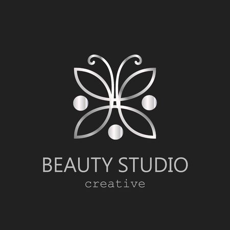Silver logo beauty salon studio vector metallic