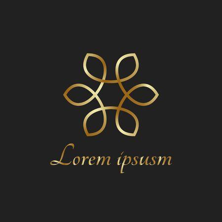 Golden logo element flower circle luxury fashion icon east style Banco de Imagens - 141949803