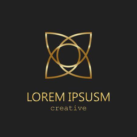 Golden logo element flower circle luxury fashion icon east style 向量圖像