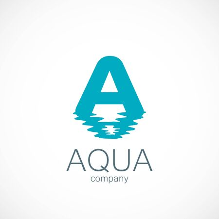 Letter A wave reflection of water logo aqua
