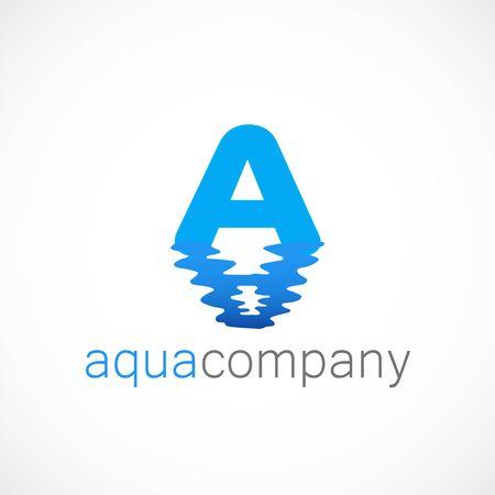 Letter A wave reflection of water logo aqua Banco de Imagens - 141949818