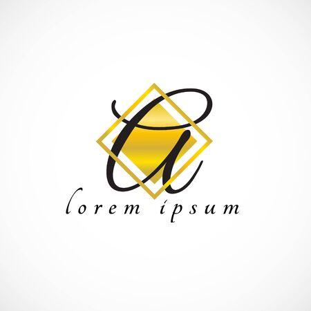 Logo gold texture letter vector ink  monogram square