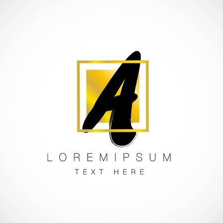 Logo gold texture letter vector ink  monogram square