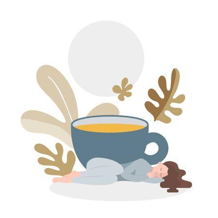 Sleep girl tea cup herbal flat style