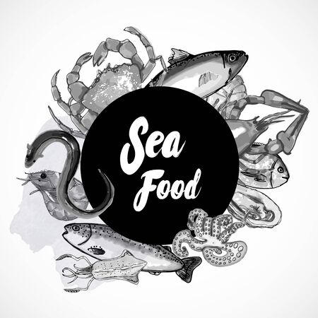 Seafood - modern vector hand drawn round banner template with copy space. Black and white Banco de Imagens - 141481091