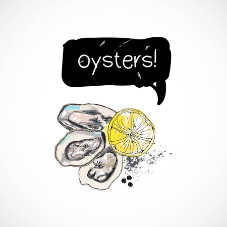 Oysters seafood taste for packing or menu watercolor spray seafood poster on white background