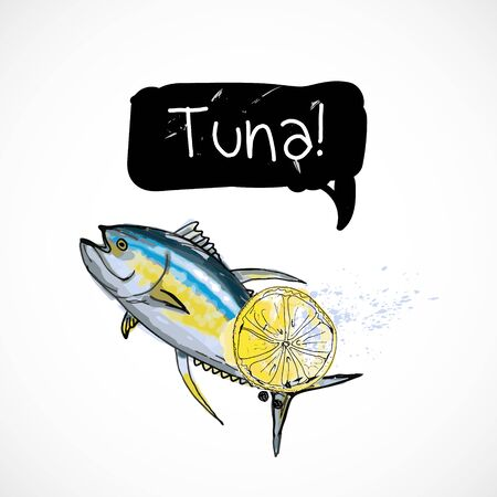 Tuna seafood taste for packing or menu watercolor spray seafood poster on white background Vettoriali