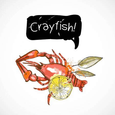 Crayfish seafood taste for packing or menu watercolor spray seafood poster on white background Banco de Imagens - 141483978