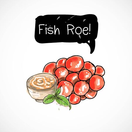 Fish roe seafood taste for packing or menu watercolor spray seafood poster on white background