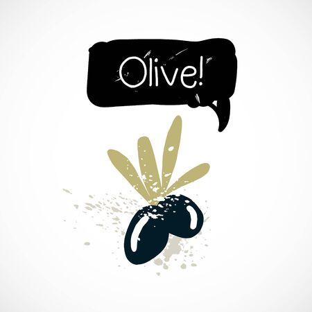 Watercolor olive illustration vector spray icon