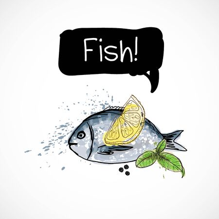 Watercolor hand drawn fish with lemon and herb. Isolated natural food illustration on white background.