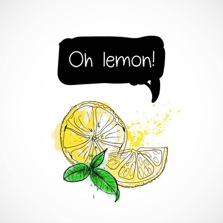 Watercolor lemon and herb mint illustration vector spray icon