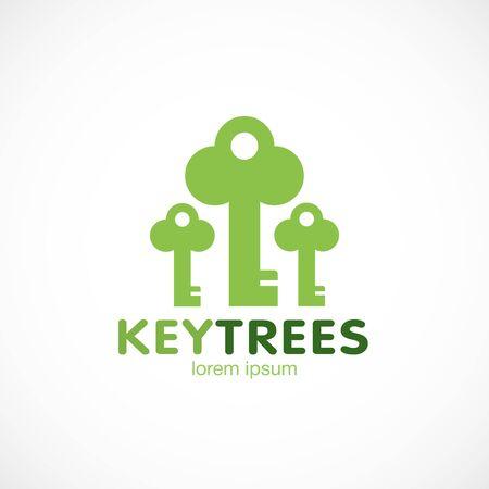 Trees key green logo template vector illustration