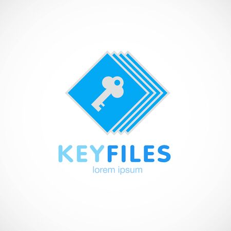 Key files document blue logo template vector illustration