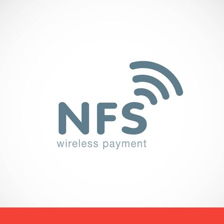 Sign wireless payment gray vector flat illustration
