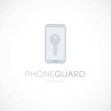 Phone guard key logo password access sign gray vector illustration 向量圖像