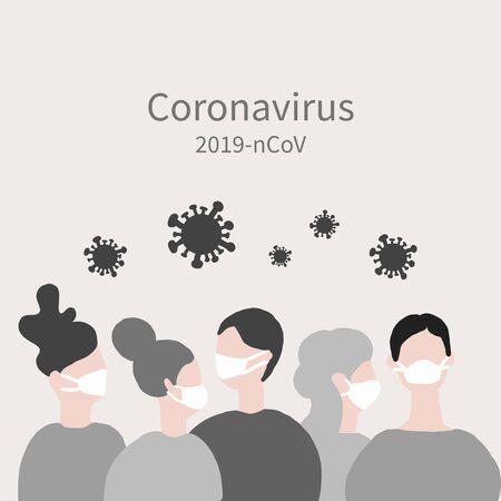 Coronavirus crowd (2019-nCoV), people in white medical face mask. Concept of Virus flat vector illustration. 向量圖像