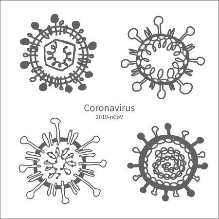 Coronavirus ink disease set .Vector illustration.