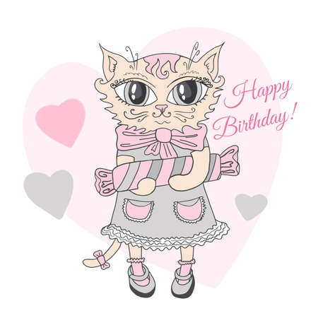 Cute baby cat cartoon wearing dress and bows holding candy heart pink background illustration vector. Vettoriali