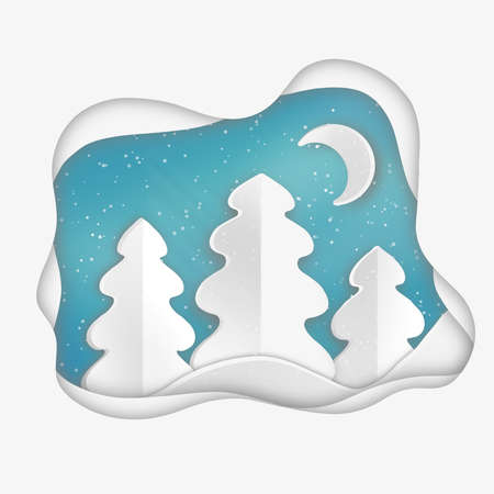 Paper cut style snow winter forest christmas greeting card night moon and fir-tree