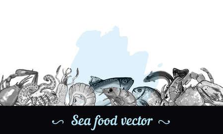 Sea fish hand drawn illustration border frame down ink and watercolor spot marine menu card restaurant, vector banner