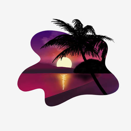 Sunset beath silhouette palm sun down reflection poster tropic flat vector design ocean purple violet color wave white frame