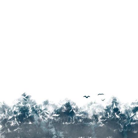 Snow mountains peaks landscape birds border down illustration monochrome poster