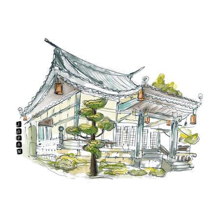 Japanese house watercolor 版權商用圖片