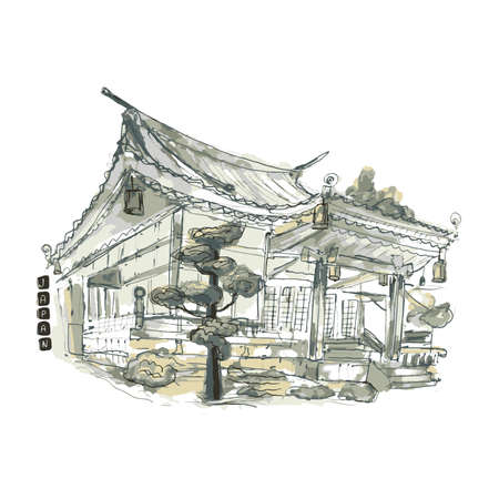 Japanese house watercolor paint hand drawn china home ink illustration