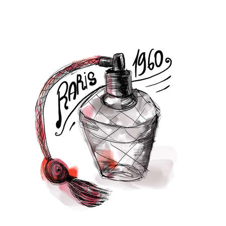 Vintage illustration watercolor france parfum paris fashion print 版權商用圖片