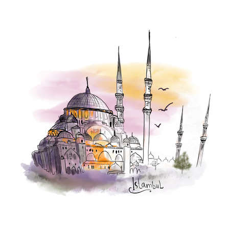 Istambul watercolor illustration mosque minaret sunset turkey