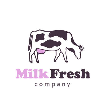 Cow logo stands and eat pink udder 矢量图像