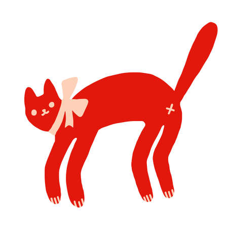 Red funny cat with bow vector illustration