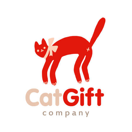 Red logo funny cat with bow vector illustration